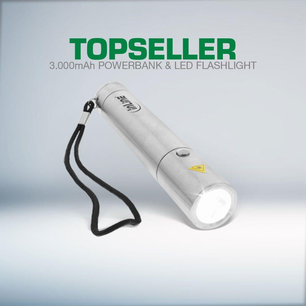 USB Zusatzakku PowerBank 3000mAh, mit LED Taschenlampe