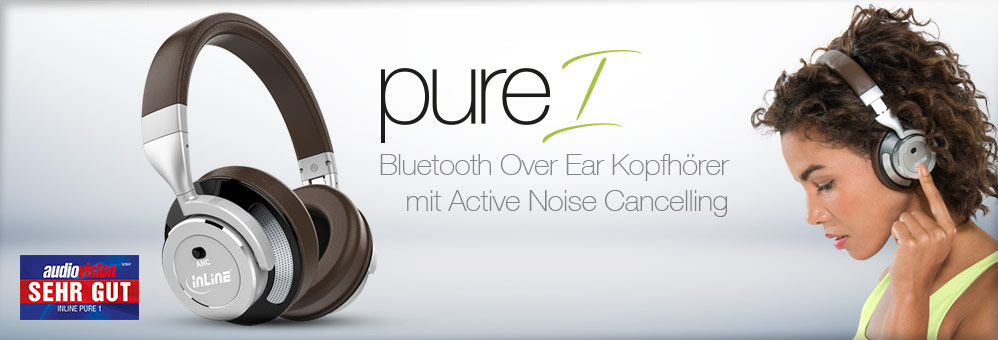 InLine PURE 1 - Bluetooth Over Ear Kopfhörer mit Active Noise Cancelling