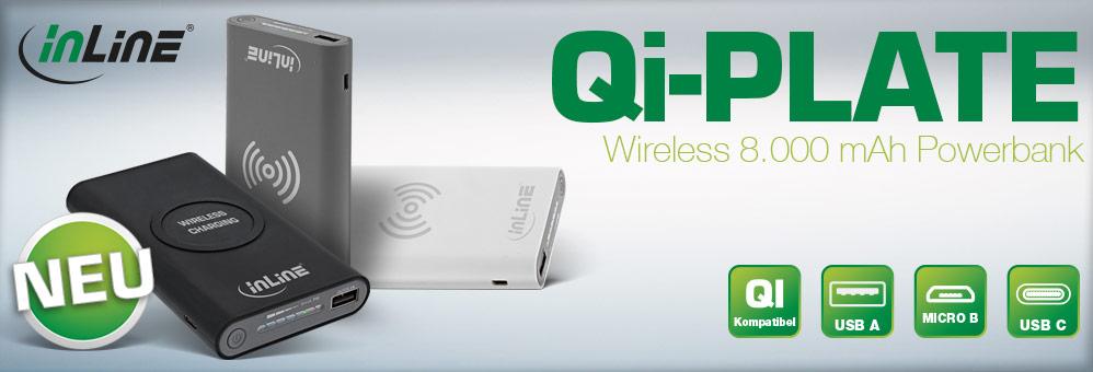 InLine® Qi-Plate 8.000 mAh Wireless Powerbank
