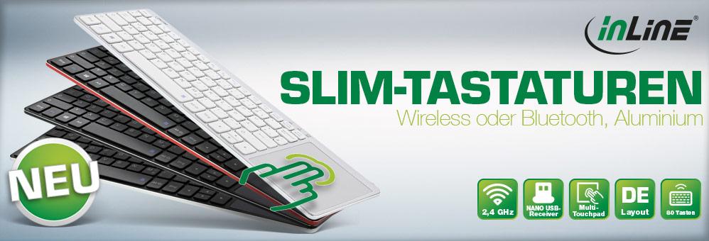 InLine®  Wireless Aluminium Slim-Tastaturen