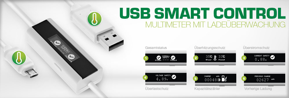 USB Smart Control, Multimeter mit  Ladeüberwachung