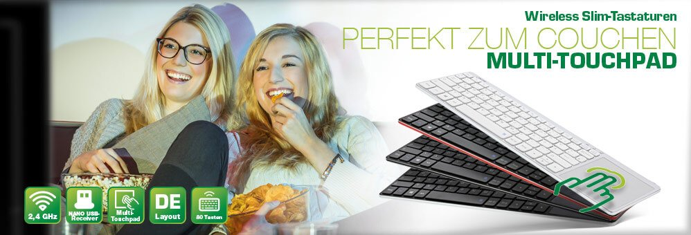 Perfekt zum Couchen – InLine Wireless Aluminium Tataturen