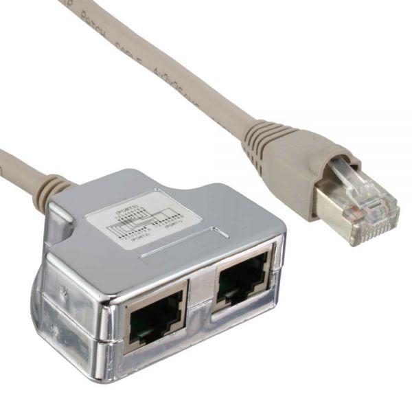 InLine® Cat.5e / ISDN T-Adapter (Port-Doppler) RJ45 Stecker an 2x ...