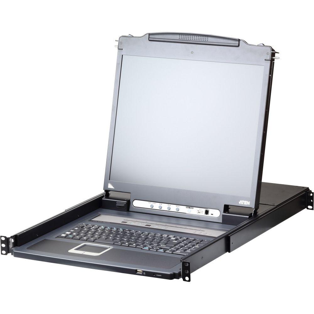 ATEN CL5708IM 8-port KVM over IP Switch Slideaway-Konsole mit 17''-Display, USB, PS/2, VGA, DE-Layout