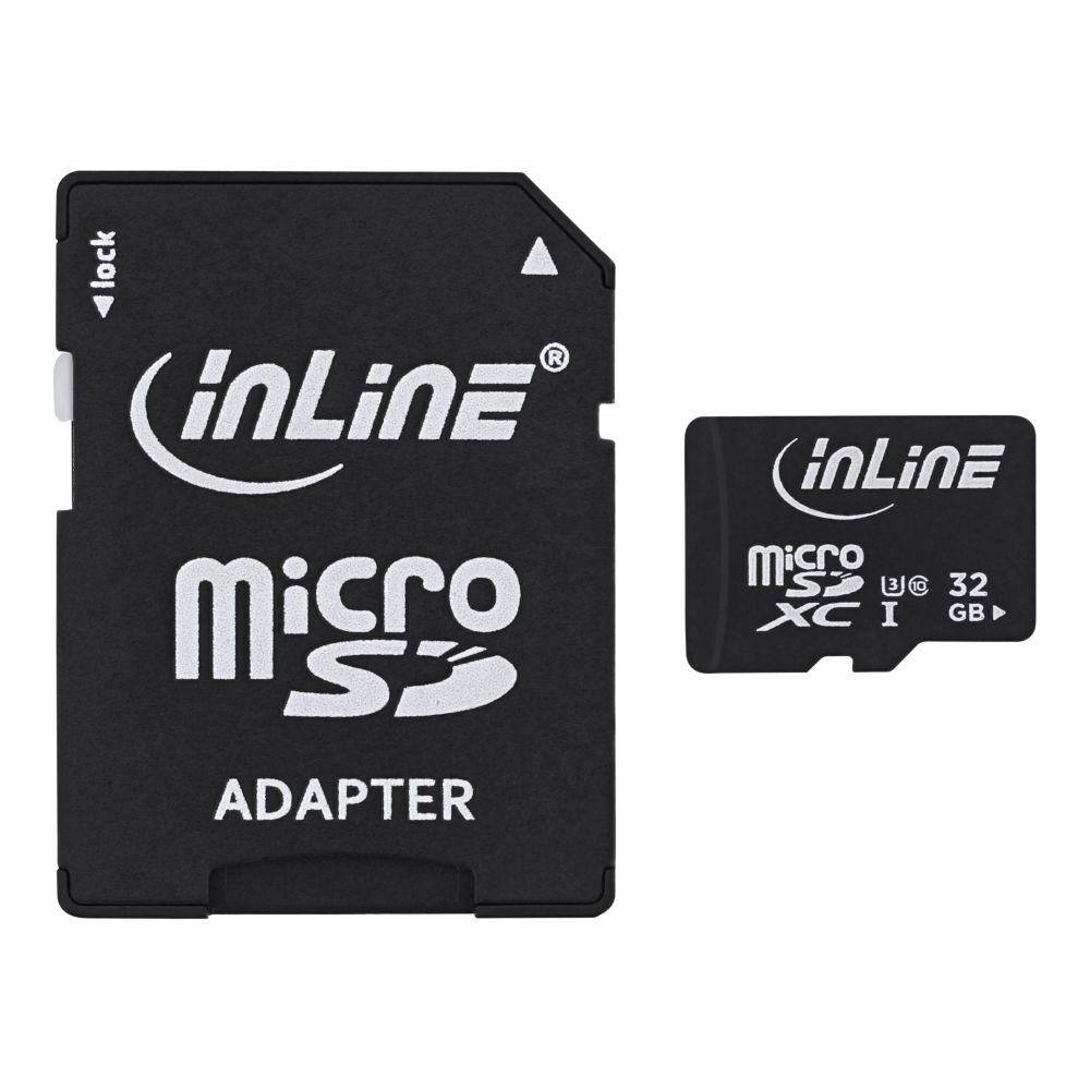 InLine® MicroSDXC Speicherkarte mit SD Adapter, Class 10/U3, 32GB
