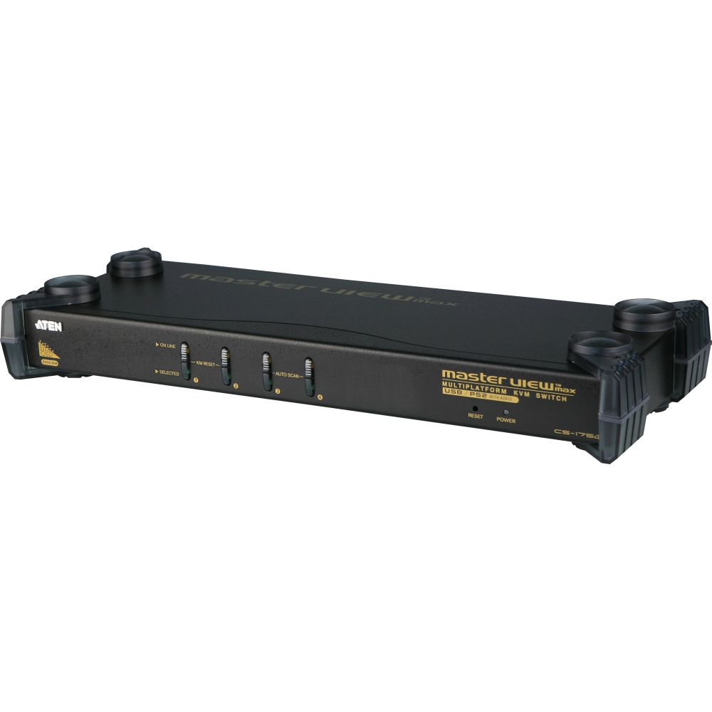 ATEN CS1754 KVM-Switch 4-fach, PS/2, USB, mit Audio, 19-Zoll-Rackmontage