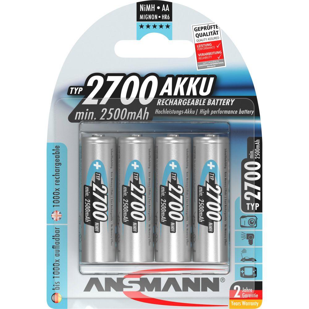 ANSMANN 5030842 NiMH-Akku Mignon AA, 2700mAh, 4er-Pack