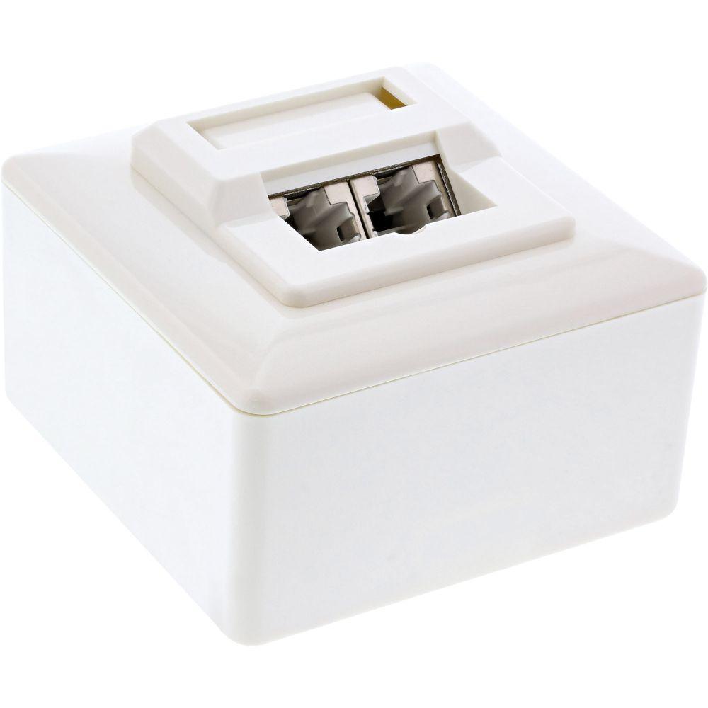InLine® Cat.5e Anschlussdose, AP/UP 2x RJ45 Buchse, RAL 9010, weiß