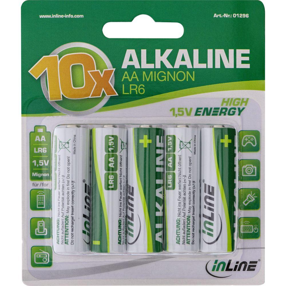 InLine® Alkaline High Energy Batterie, Mignon (AA), 10er Blister