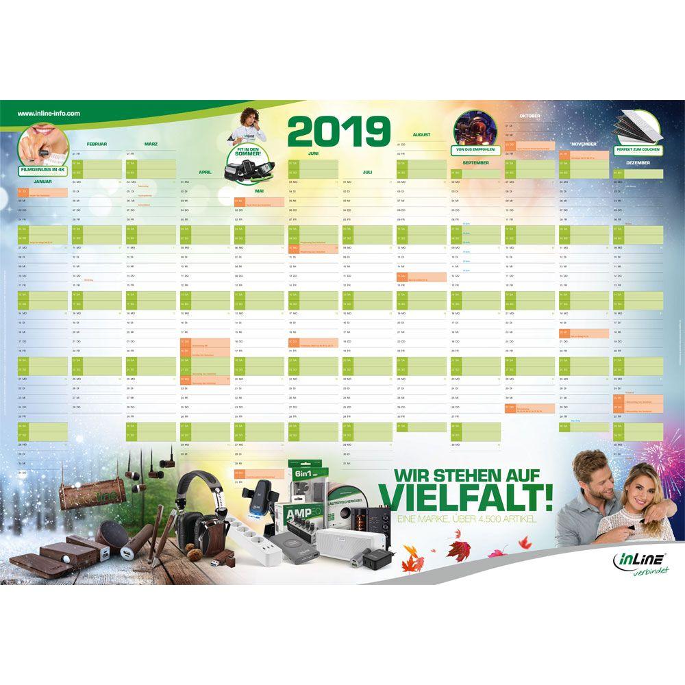 InLine® Wandkalender ''2019'' Poster, DIN A1