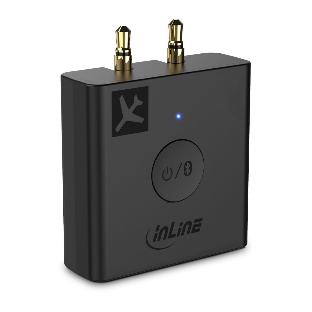 InLine® Flugzeug Bluetooth Audio Transmitter Sender, BT 5.0, aptX HD/LL, Flight Adapter mit Ladecase