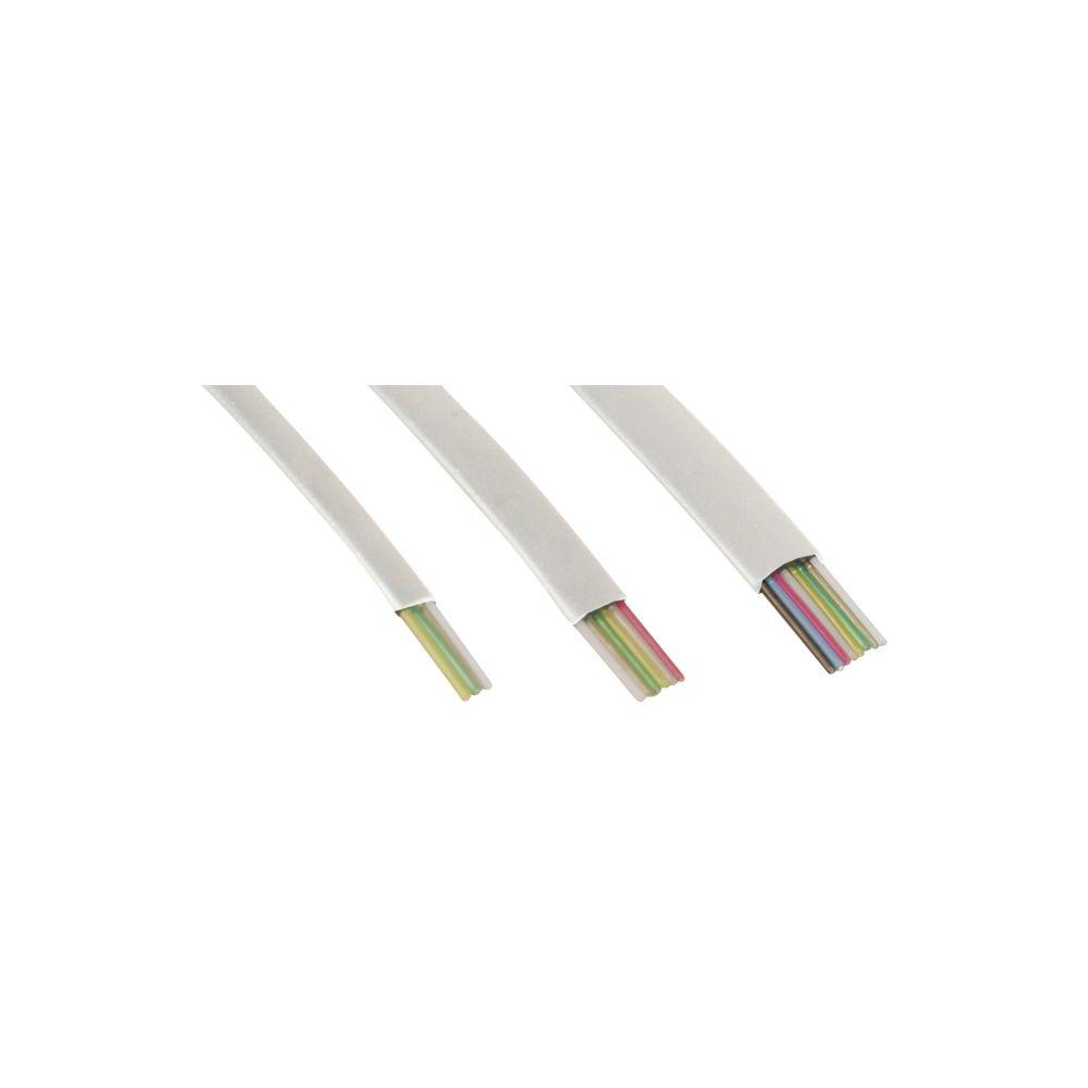 InLine® Modularkabel, 6adrig Flachband weiß, 100m Ring
