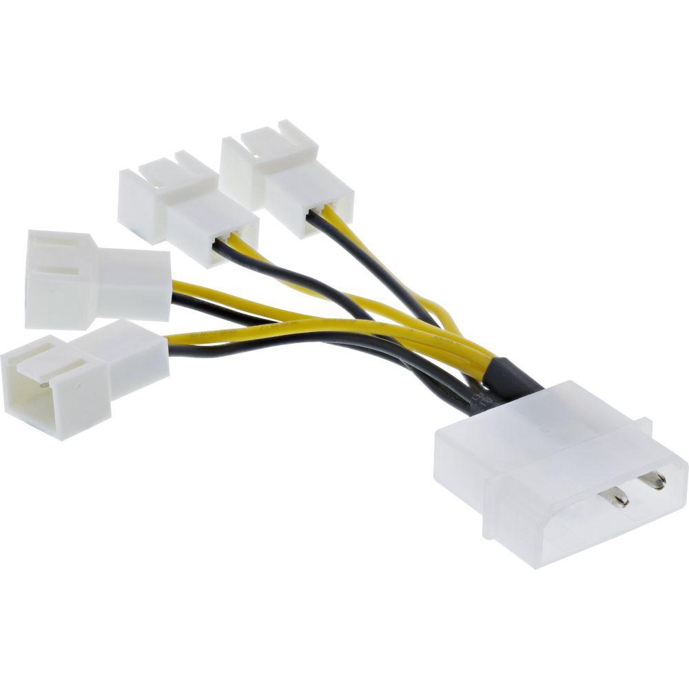 InLine® Lüfter Adapterkabel, 4x Lüfter 3pol. an 13,34cm (5,25