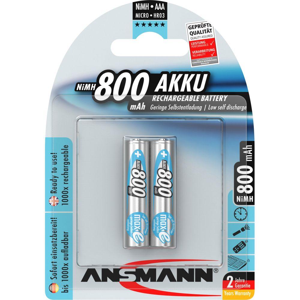 ANSMANN 5030982 NiMH-Akku Micro AAA, maxE, 800mAh, 2er-Pack
