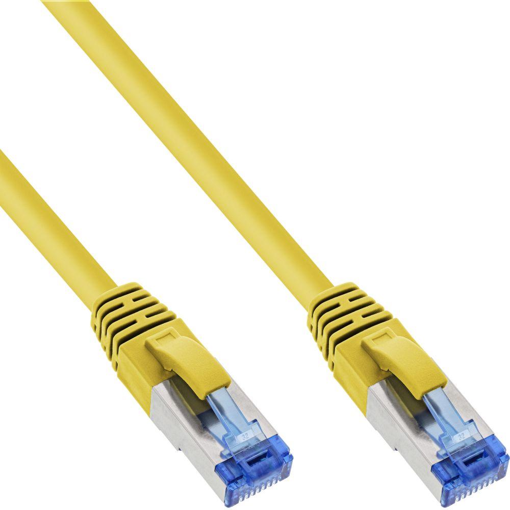 InLine® Patchkabel, S/FTP (PiMf), Cat.6A, 500MHz, halogenfrei, Kupfer, gelb, 1m
