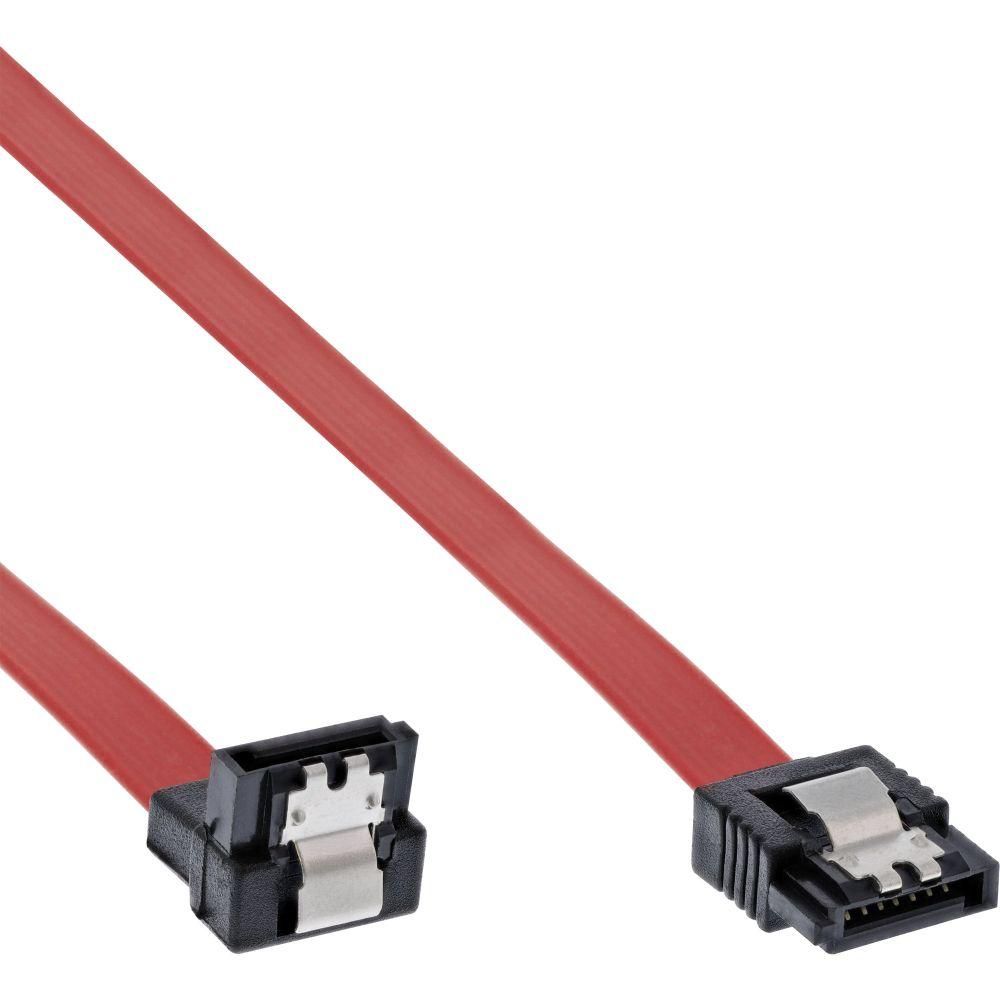 InLine® SATA Anschlusskabel abgewinkelt, mit Sicherheitslasche, 0,3m