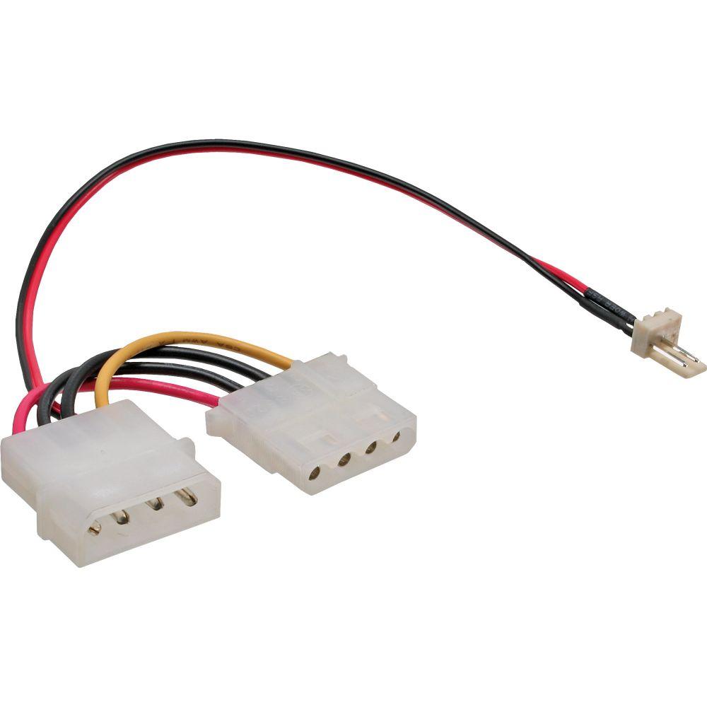 InLine® Lüfter Adapterkabel, 3pol Lüfter an 4pol Netzteil, 0,15m