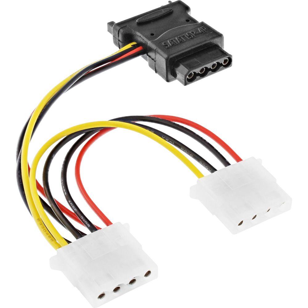 InLine® SATA Stromadapterkabel, SATA Buchse an 3x 13,34cm (5,25'') Stecker, 0,15m
