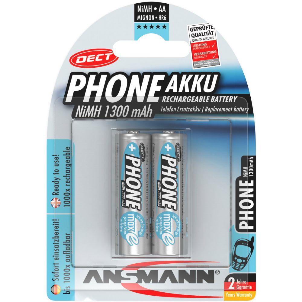 ANSMANN 5030802 NiMH-Akku Mignon AA, Phone DECT, 1300mAh, 2er-Pack