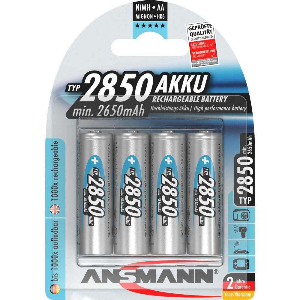 ANSMANN 5035212 NiMH-Akku Mignon AA, 2850mAh, 4er-Pack