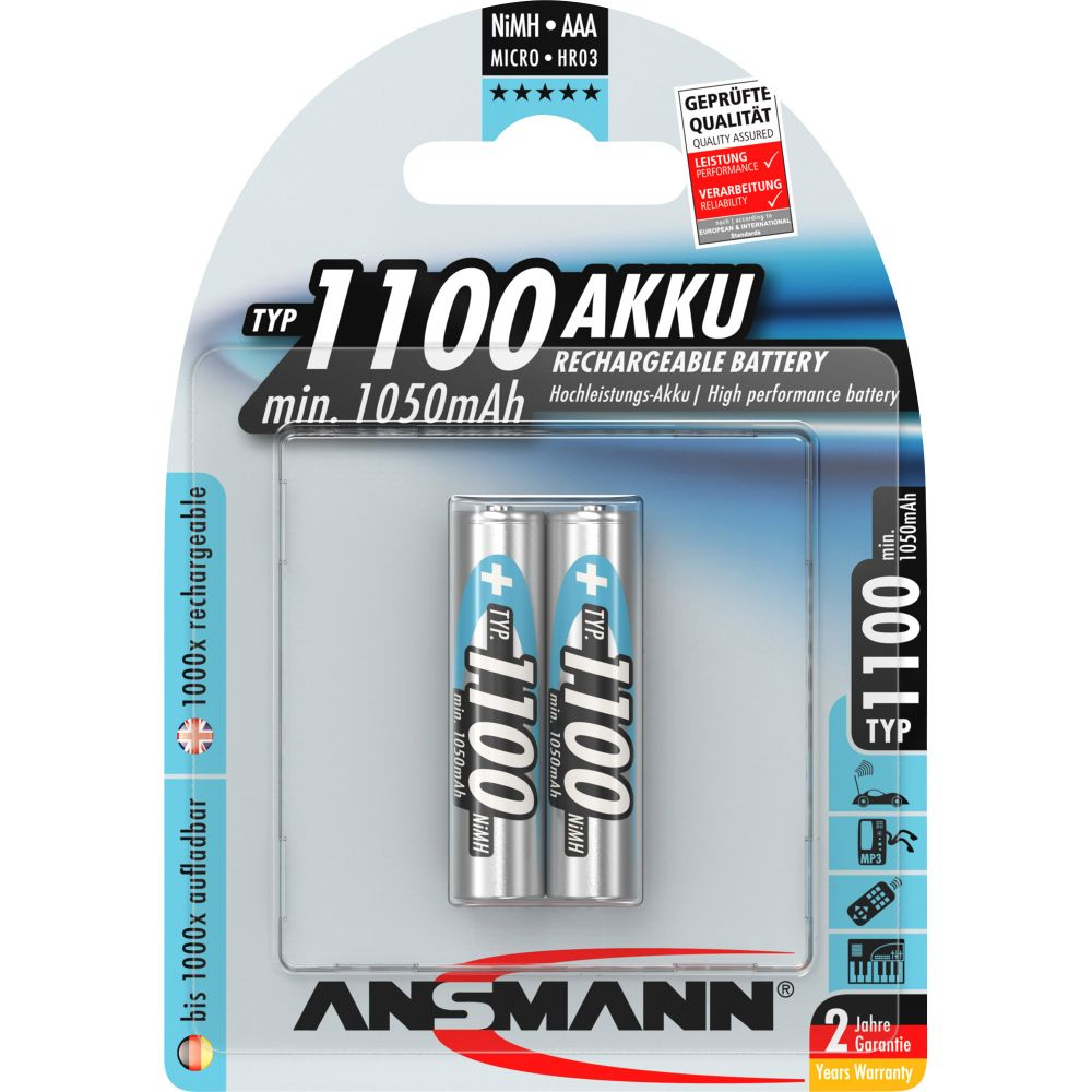ANSMANN 5035222 NiMH-Akku Micro AAA, 1100mAh, 2er-Pack