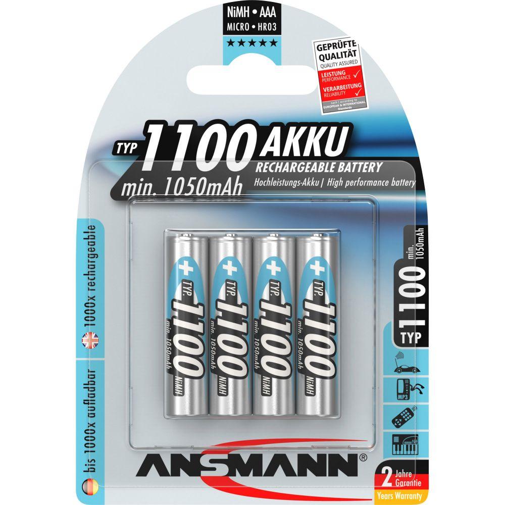 ANSMANN 5035232 NiMH-Akku Micro AAA, 1100mAh, 4er-Pack