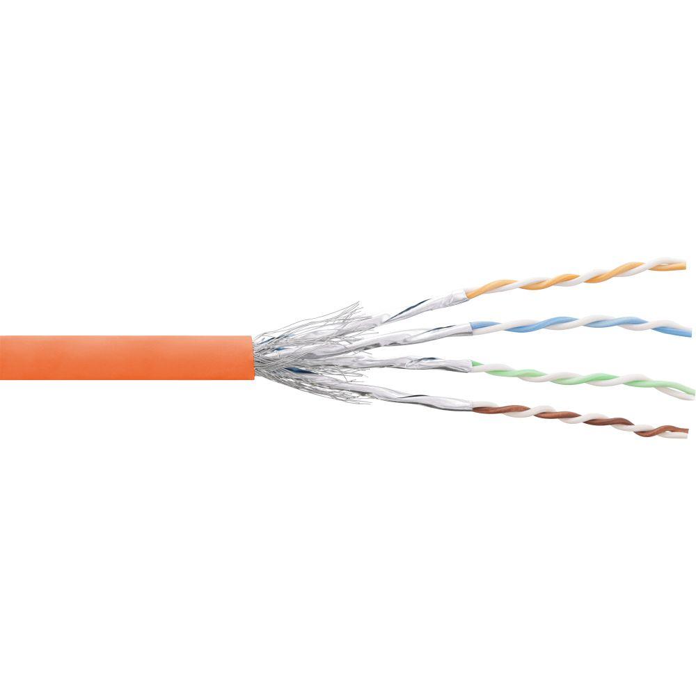 InLine® Patchkabel Cat.6 S/FTP (PiMf), orange, AWG27, PVC, CU, 100m