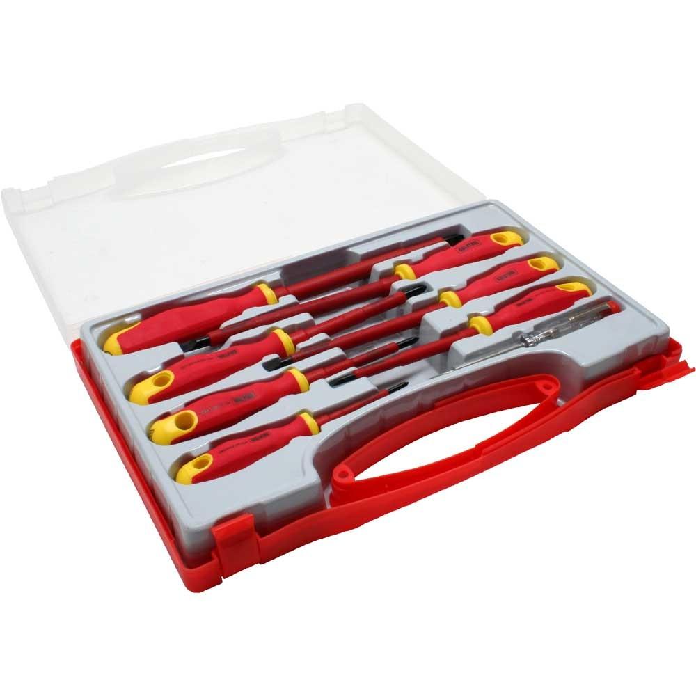 InLine® Schraubendreher-Satz, 8-teilig, mit Spannungsprüfer und Koffer