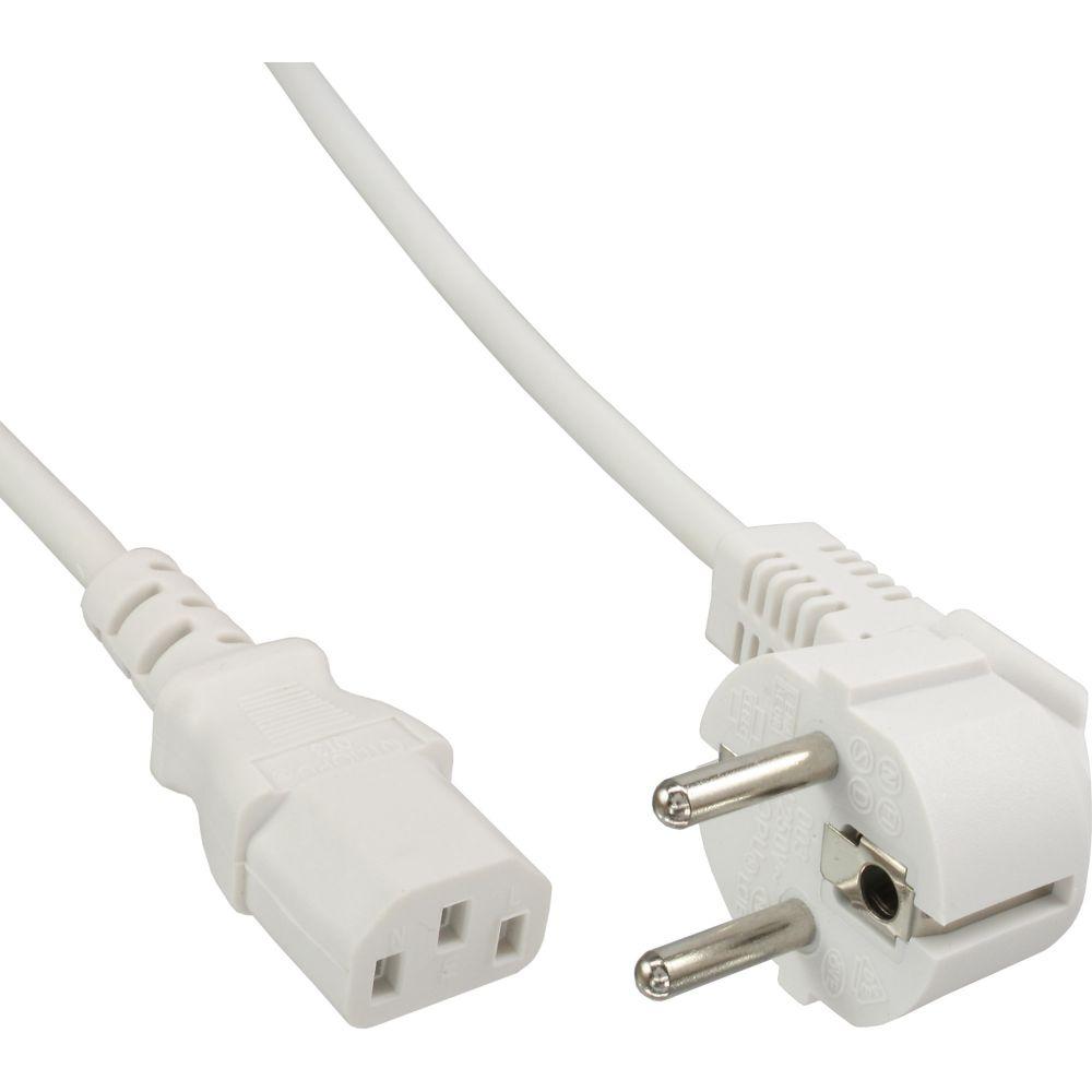 InLine® Netzkabel, Schutzkontakt gewinkelt auf Kaltgerätestecker C13, 1,8m, weiß