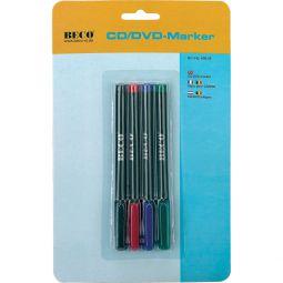 CD/DVD-Marker, wisch- und wasserfeste Tinte in 4 Farben, BECO 609.09