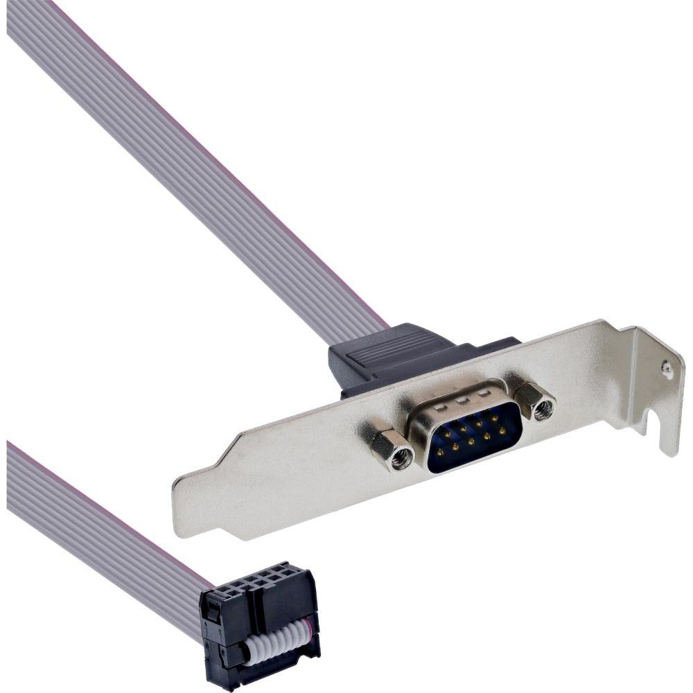 InLine® Serielles Slotblech, Low-profile, 9-pol Stecker an 10-pol Buchsenleiste, 0,6m, bulk