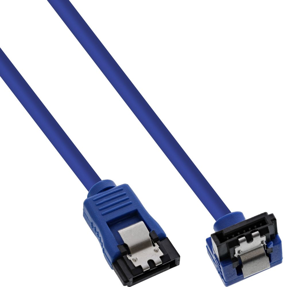 InLine® SATA 6Gb/s Anschlusskabel rund, abgewinkelt, blau, mit Lasche, 0,15m