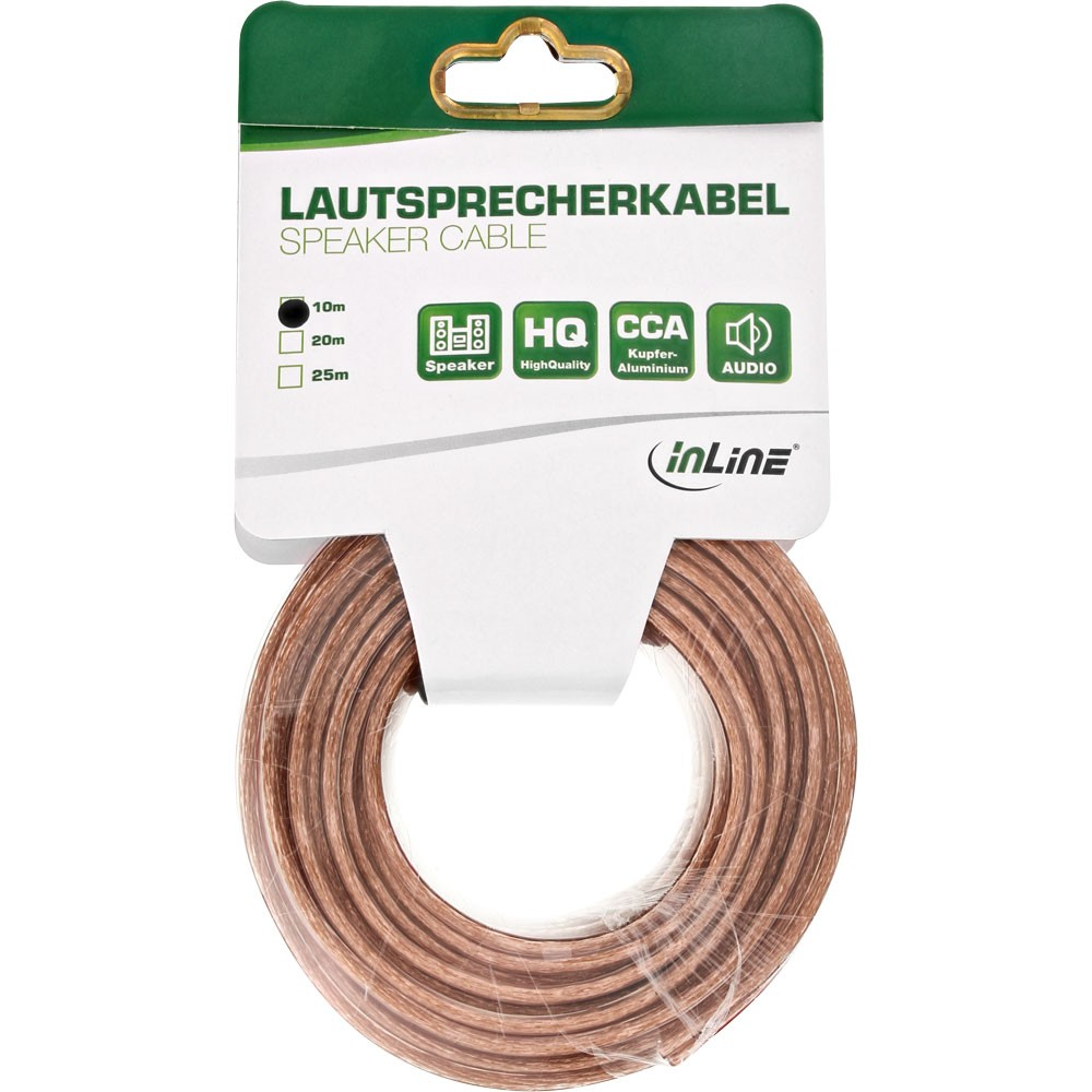 InLine® Lautsprecherkabel, 2x 1,5mm², CCA, transparent, 10m