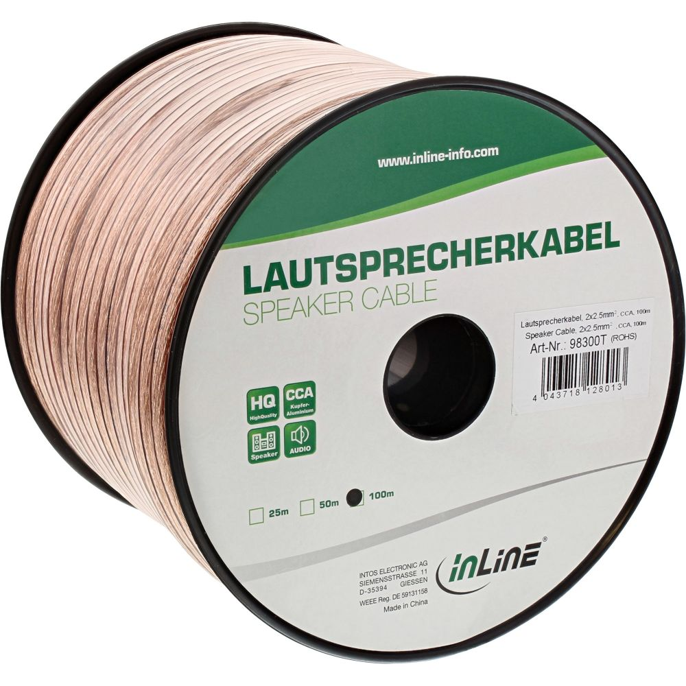 InLine® Lautsprecherkabel, 2x 2,5mm², CCA, transparent, 100m