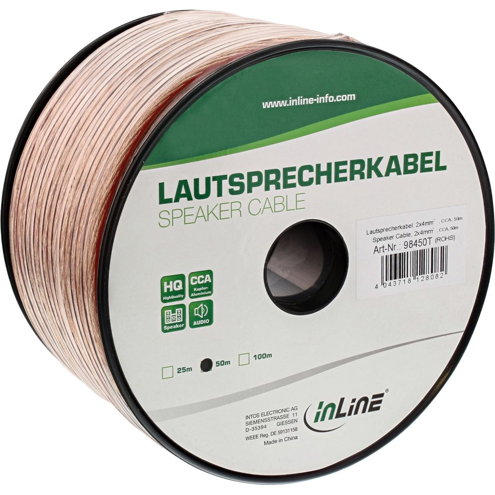 InLine® Lautsprecherkabel, 2x 4mm², CCA, transparent, 50m