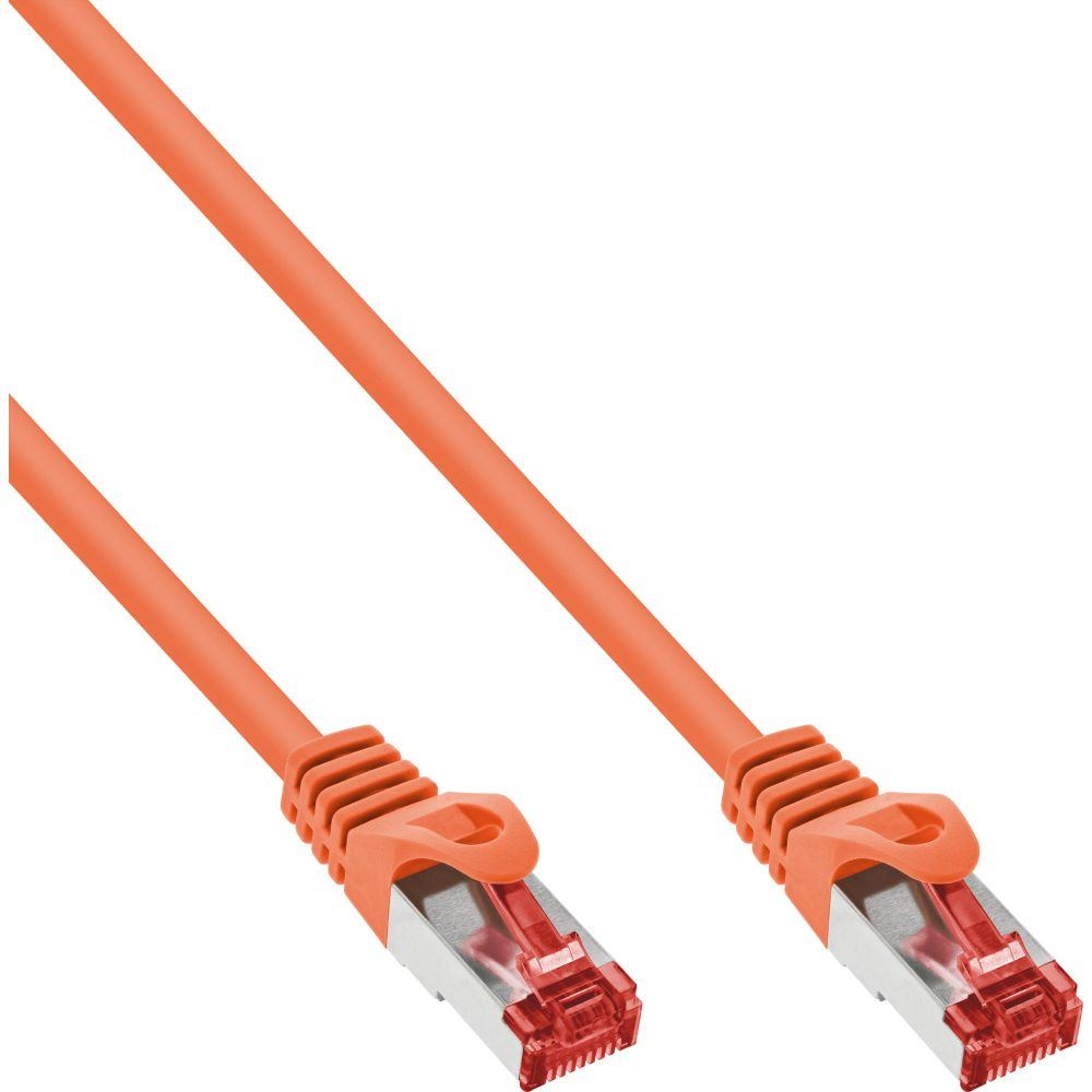 InLine® Patchkabel, S/FTP (PiMf), Cat.6, 250MHz, PVC, Kupfer, orange, 0,25m