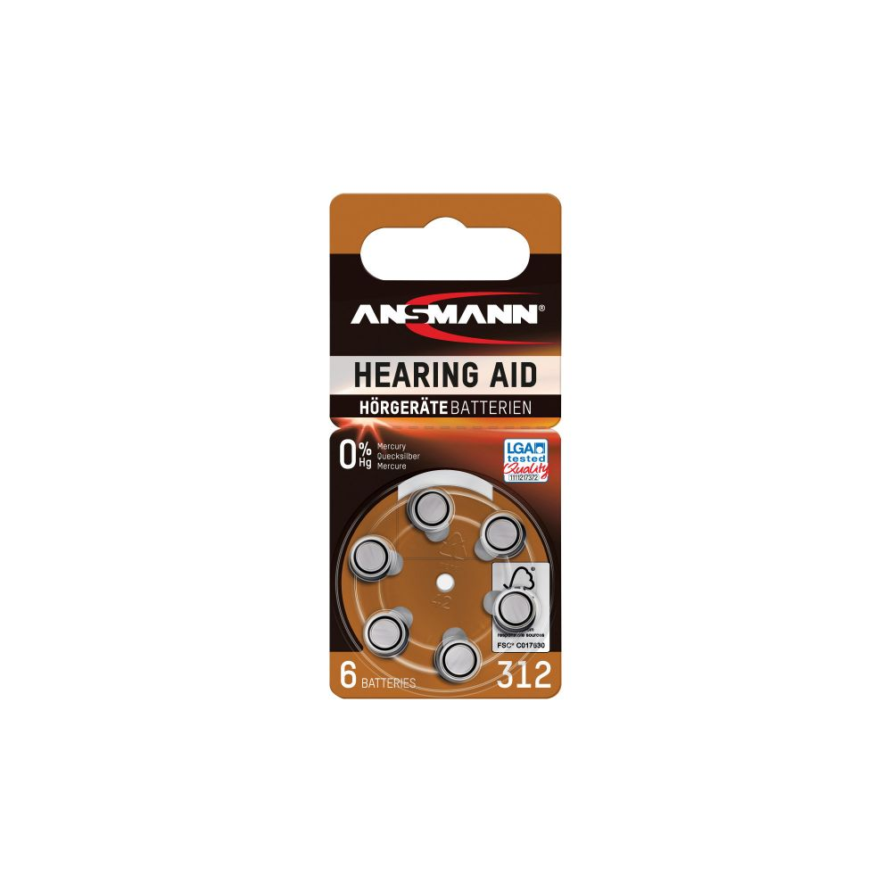 ANSMANN 5013233 Knopfzelle AZA312 1,4V Zink-Air, 6er-Pack