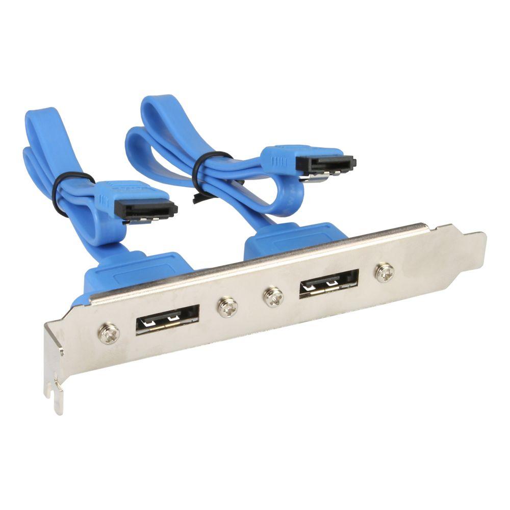 InLine® eSATA Slotblech, 2x eSATA Buchse extern auf intern SATA Stecker, 0,3m