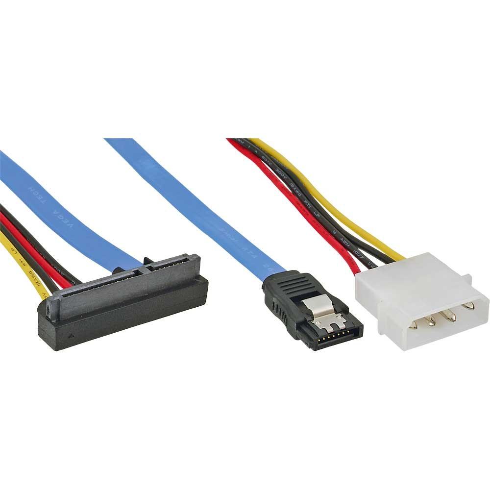 InLine® SATA Anschlusskabel (gewinkelt unten), mit Daten- und Stromanschluss
