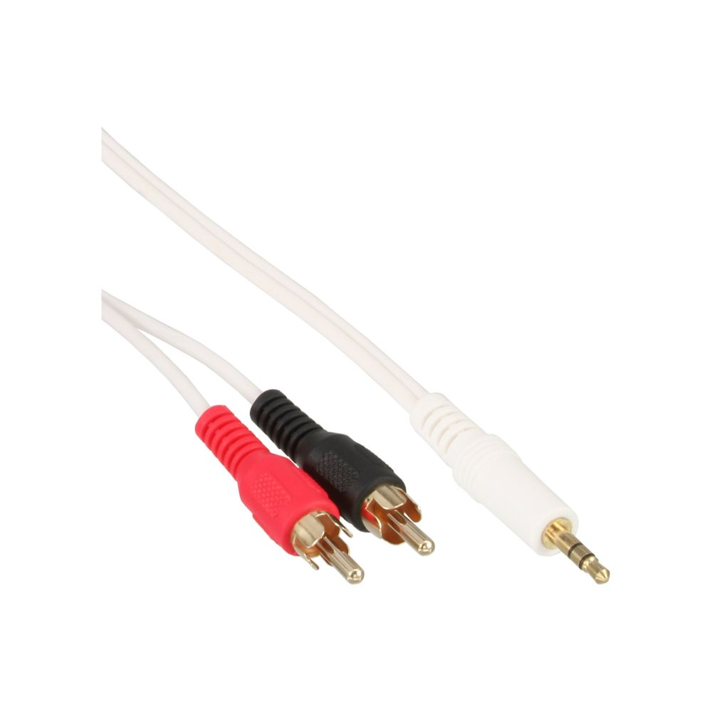 InLine® Cinch/Klinke Kabel, 2x Cinch Stecker an 3,5mm Klinke Stecker, weiß / gold, 3m