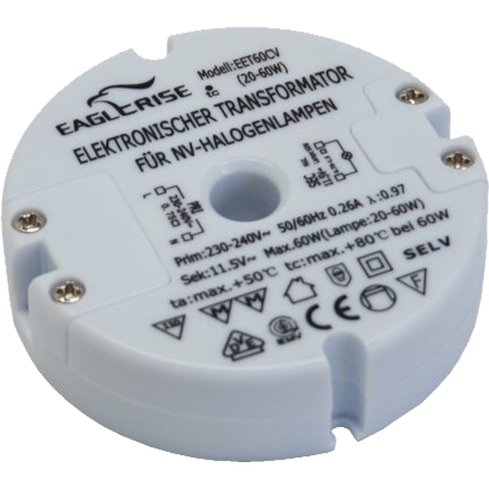 Halogen Transformator rund Ø 73mm, 230V zu 12V AC, 20-60W