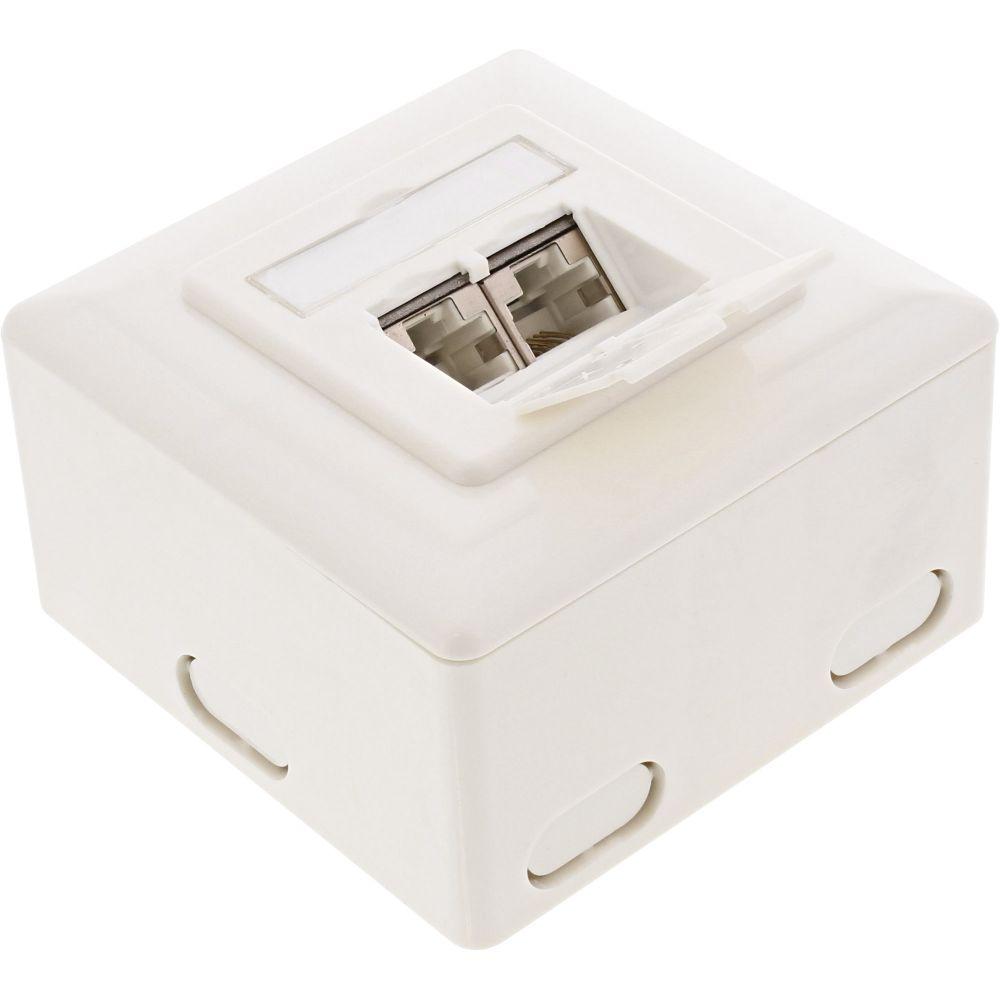 InLine® Cat.6 Anschlussdose, AP/UP 2x RJ45 Buchse, RAL9010, weiß, waagrecht