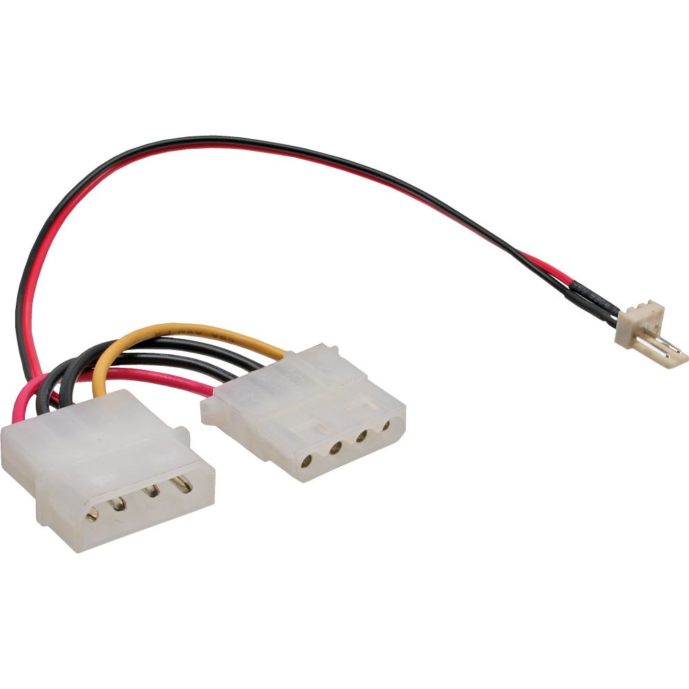 InLine® Lüfter Adapterkabel, 3pol Lüfter an 4pol Netzteil 12V, 0,3m
