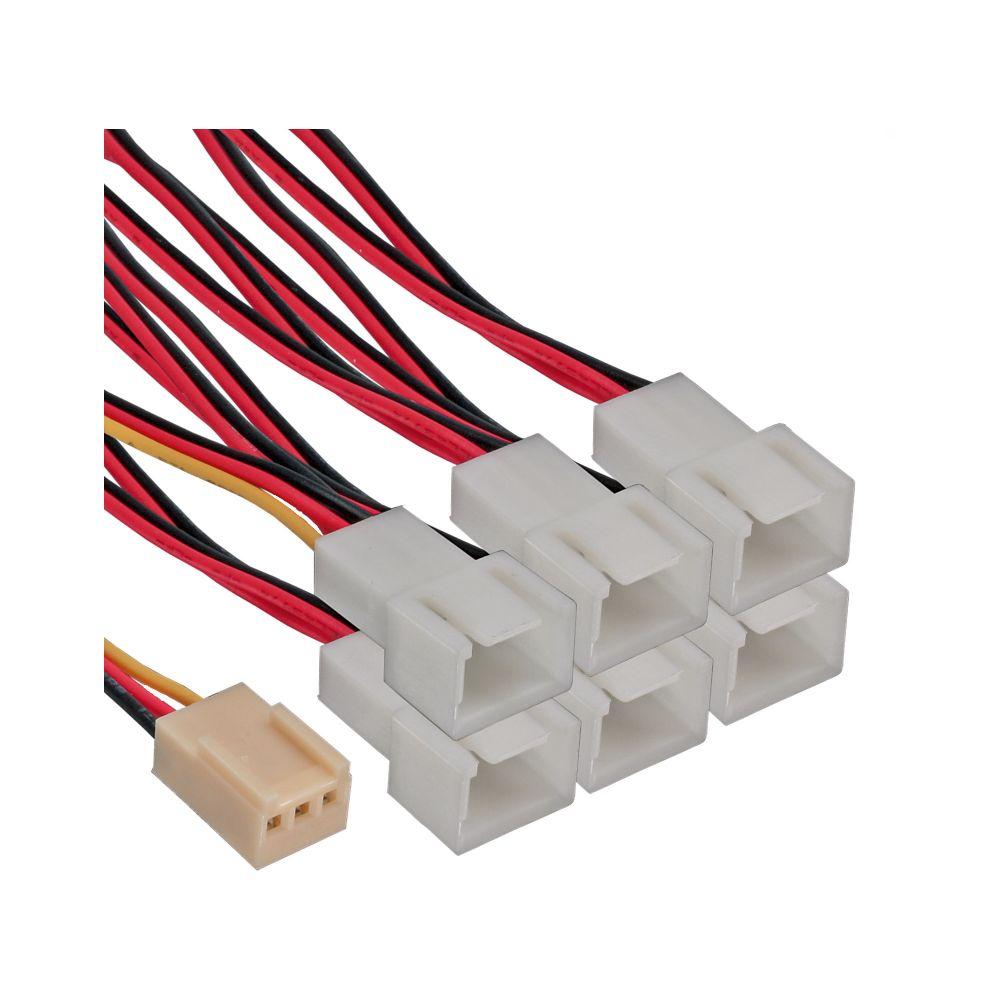 InLine® Lüfter Adapterkabel, 3pol Molex Buchse an 6x 3pol Molex Stecker