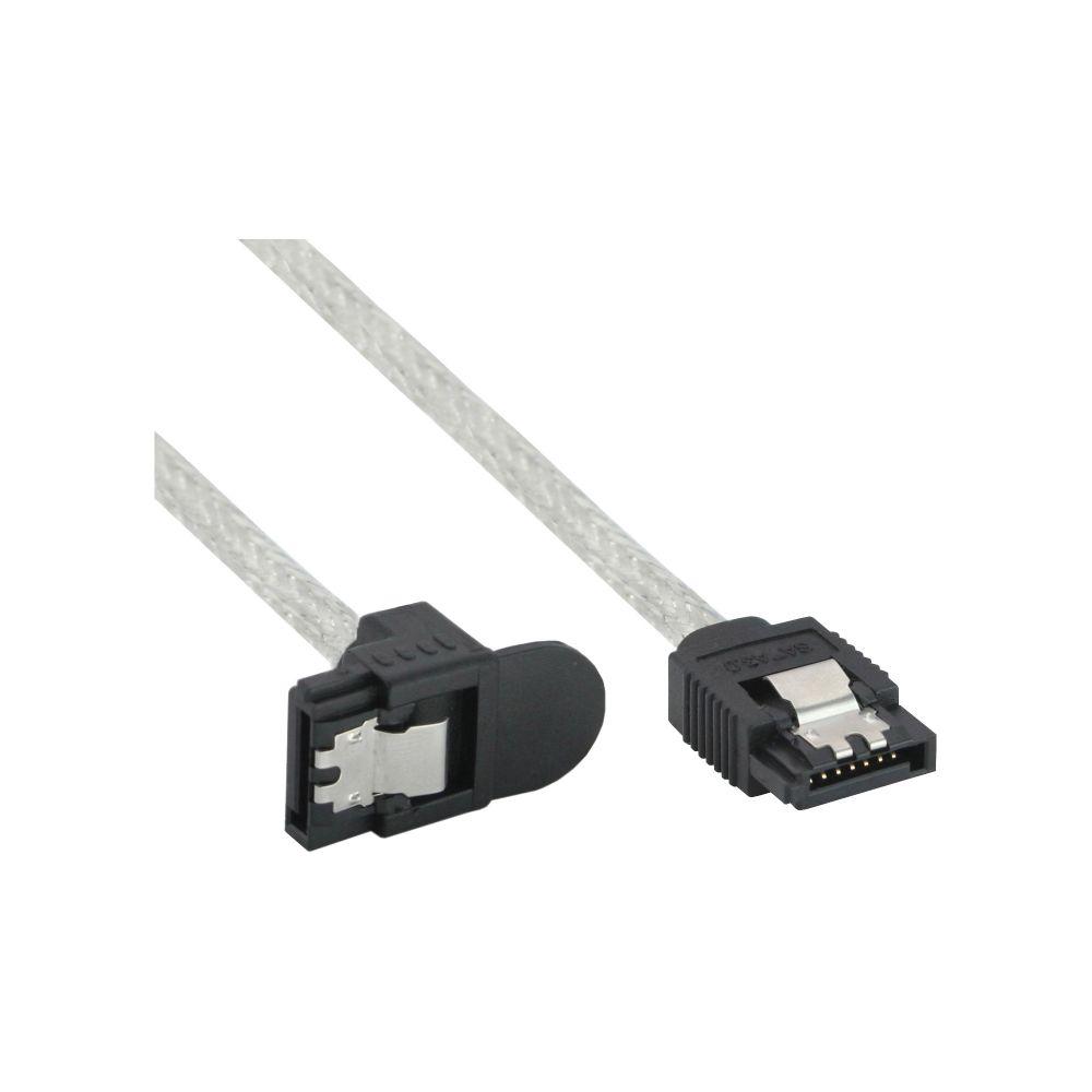 InLine® SATA 6Gb/s Kabel rund, mit Lasche, gewinkelt, 0,3m