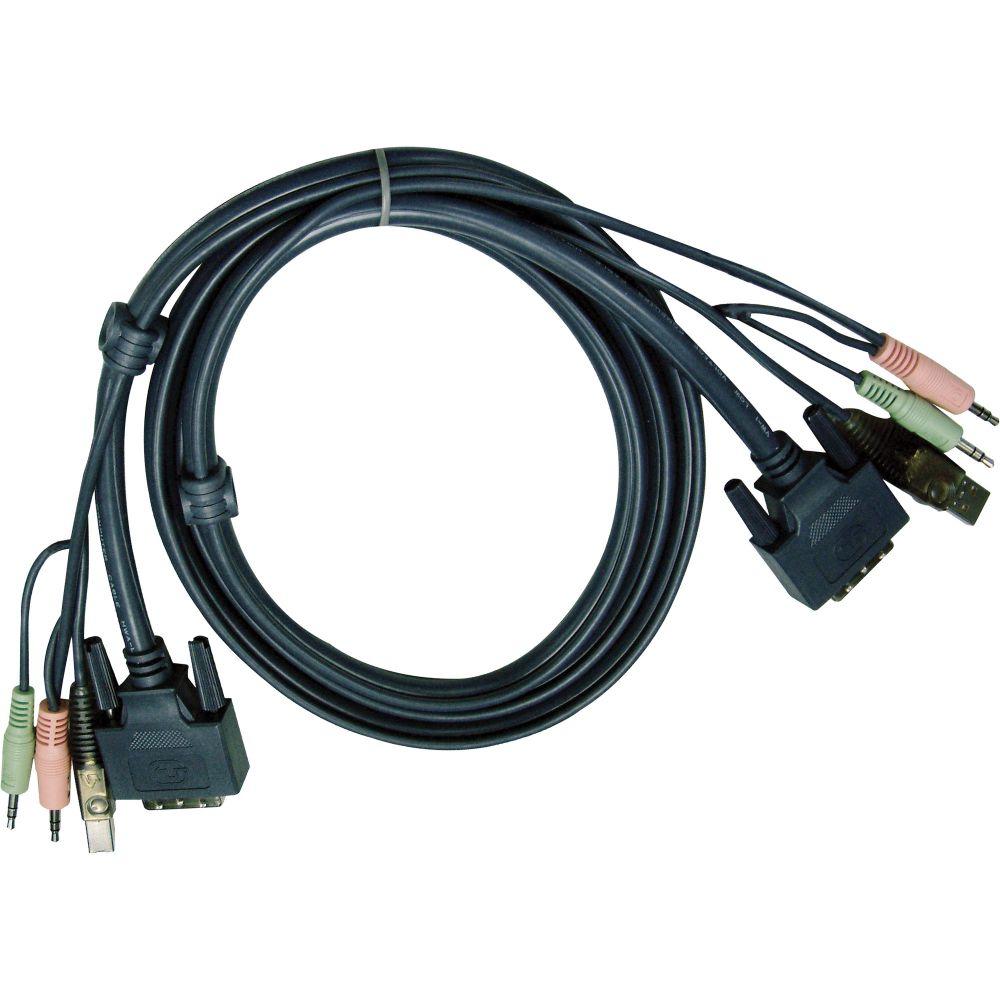 ATEN 2L-7D02UD KVM Kabelsatz, DVI, USB, Audio, Länge 1,8m