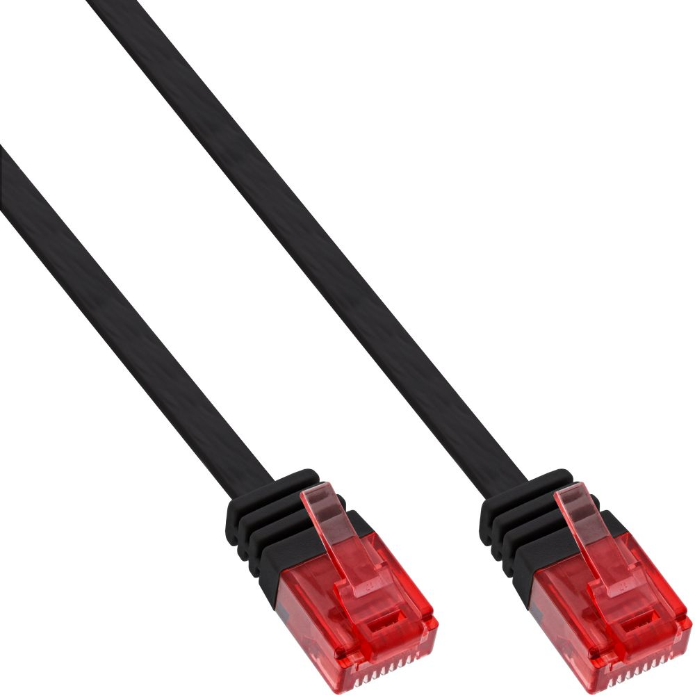 InLine® Patchkabel flach, U/UTP, Cat.6, schwarz, 10m