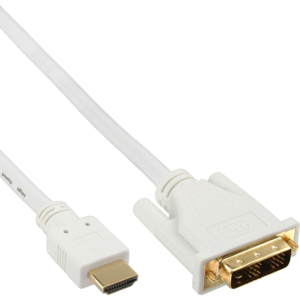 InLine® HDMI-DVI Kabel, weiß / gold, HDMI Stecker auf DVI 18+1 Stecker, 3m
