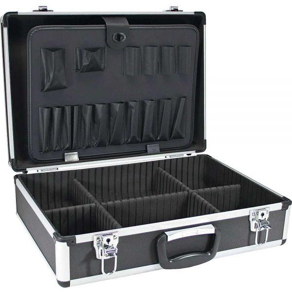 inline werkzeugkoffer aluminium schwarz unbest ckt abschlie bar koffer koffer taschen. Black Bedroom Furniture Sets. Home Design Ideas