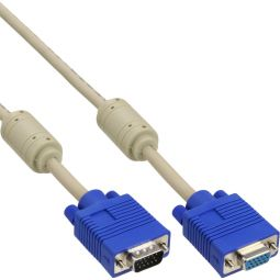 InLine® S-VGA Verlängerung, 15pol HD Stecker / Buchse, beige, 2m